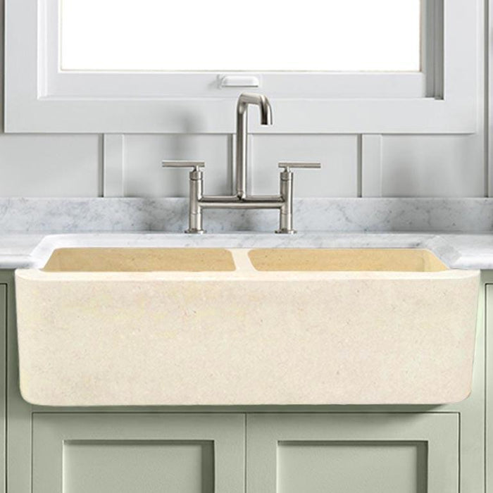 "33"" Hadar Smooth Polished Egyptian Cream Marble Double-Bowl Farmhouse Sink"
