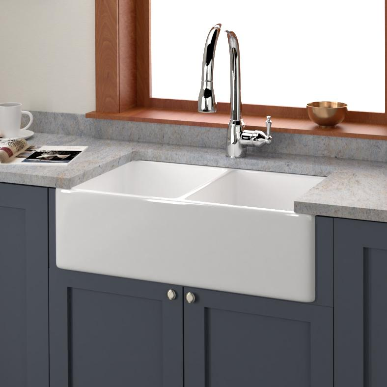 33 Huntington Fireclay Double Bowl Farmhouse Sink Magnus Home Products