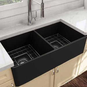 "33"" Huntington Fireclay Double-Bowl Farmhouse Sink - Black Finish"
