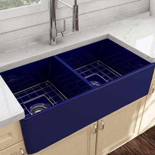 "33"" Huntington Fireclay Double-Bowl Farmhouse Sink - Cobalt Finish"