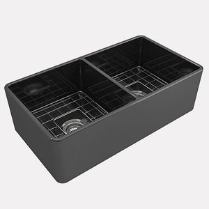 "33"" Huntington Fireclay Double-Bowl Farmhouse Sink - Dark Gray Matte Finish"