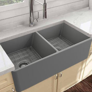 "33"" Huntington Fireclay Double-Bowl Farmhouse Sink - Gray Matte Finish"