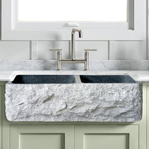 "33"" Kennesaw Polished Blue Gray Granite 60/40 Offset Double-Bowl Farmhouse Sink - Chiseled Apron"