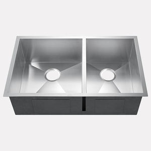 "33"" Kuna Stainless Steel Offset Double-Bowl Undermount Sink"