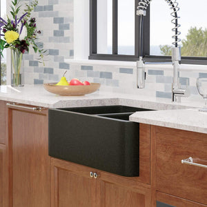 "33"" Mableton Smooth Polished Black Granite 60/40 Offset Double-Bowl Farmhouse Sink"