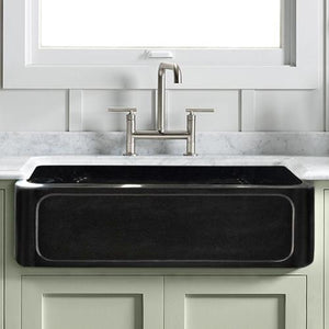 "33"" Marietta Smooth Polished Black Granite Single-Bowl Farmhouse Sink - Recessed Front"