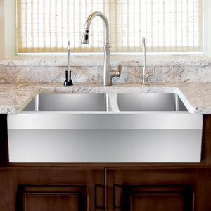 "33"" Masena Stainless Steel 60/40 Offset Double-Bowl Farmhouse Sink - Angled Apron"