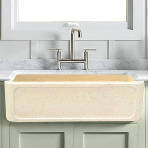 "33"" Obert Polished Egyptian Cream Marble Single-Bowl Farmhouse Sink - Frame-Style Apron"