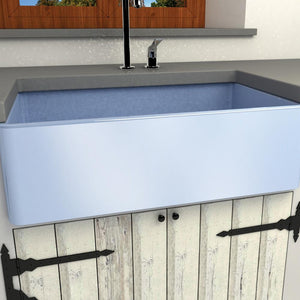 "33"" Ruston Handcrafted Single-Bowl Smooth Apron Farmhouse Sink - Baby Blue"