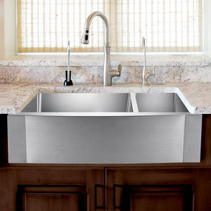 "33"" Sterrett Stainless Steel 70/30 Offset Double-Bowl Farmhouse Sink - Rippled Apron"