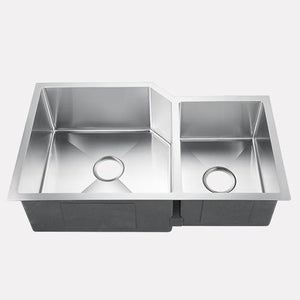 "33"" Stroud Stainless Steel Offset Double-Bowl Undermount Sink"