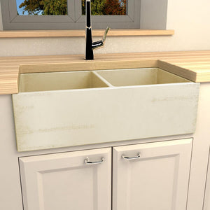 "33"" Sylva Handcrafted Double-Bowl Smooth Apron Farmhouse Sink - Distressed Wheat"