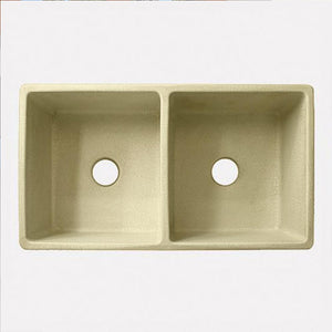 "33"" Tryon Handcrafted Double-Bowl Smooth Apron Fireclay Farmhouse Sink  - Crackle Finish"
