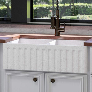 "33"" Vasava Handcrafted Fireclay Double-Bowl Fluted Apron Farmhouse Sink - Marbled Tan"