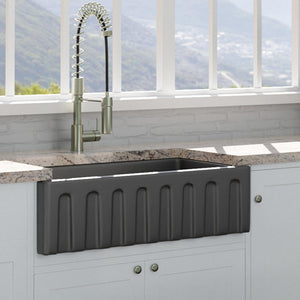 "33"" Yovanny Fireclay Fluted Apron Single-Bowl Farmhouse Sink - Matte Black"