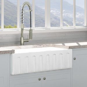 "33"" Yovanny Fireclay Fluted Apron Single-Bowl Farmhouse Sink - White"