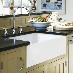 "33"" Yovanny Fireclay Smooth Apron Single-Bowl Farmhouse Sink - White"