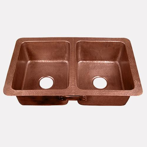 "34"" Revere Hammered Copper Double-Bowl Kitchen Sink"