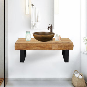 "35"" Auter Recycled Teak Wood Wall-Mount Vanity for Vessel Sink - Rustic Finish"