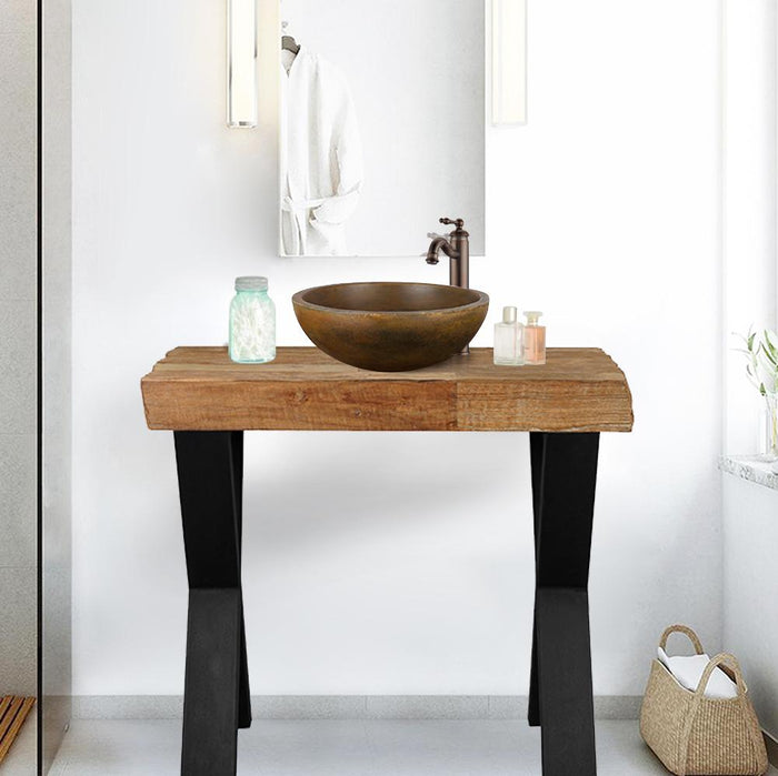 "35"" Louin Recycled Teak Wood Vanity for Vessel Sink - Rustic Finish"