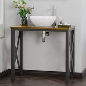 "35"" Steel Vanity Unit with Dark Walnut Wood Top"