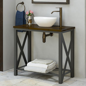 "35"" Steel Vanity Unit with Dark Walnut Wood Top - Shelf Configuration"