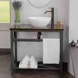 "35"" Steel Vanity Unit with Dark Walnut Wood Top - Towel Bar and Shelf Configuration"