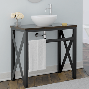 "35"" Steel Vanity Unit with Dark Walnut Wood Top - Towel Bar Configuration"