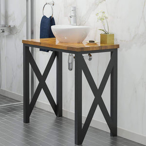 "35"" Steel Vanity Unit with Natural Wood Top"