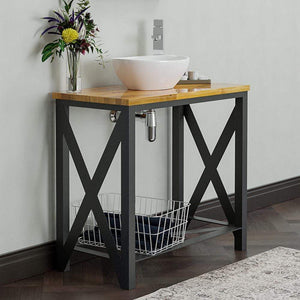 "35"" Steel Vanity Unit with Natural Wood Top	 - Shelf Configuration"
