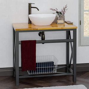"35"" Steel Vanity Unit with Natural Wood Top - Towel Bar and Shelf Configuration"
