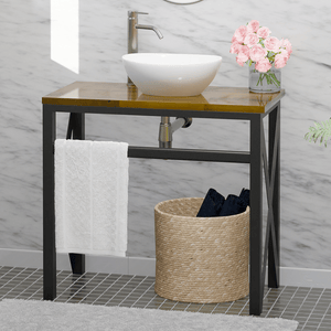 "35"" Steel Vanity Unit with Natural Wood Top - Towel Bar Configuration"