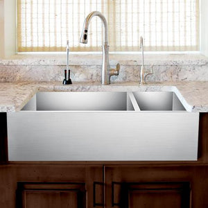 "36"" Ardell Stainless Steel 70/30 Offset Double-Bowl Farmhouse Sink"