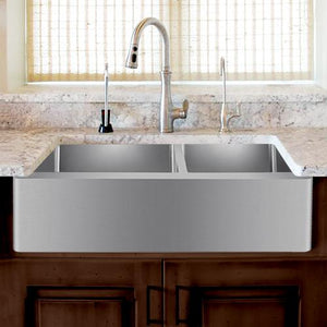 "36"" Argo Stainless Steel 60/40 Offset Double-Bowl Farmhouse Sink"