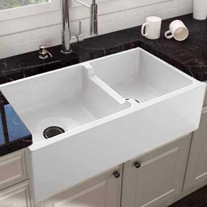 "36"" Bari Fireclay 60/40 Offset Double-Bowl Farmhouse Sink"