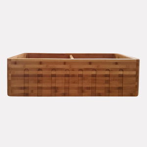 "36"" Chatom Bamboo Fluted Apron Double-Bowl Farmhouse Sink"