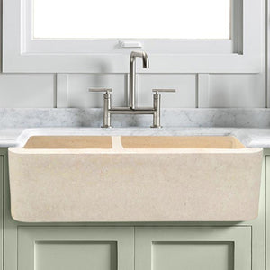"36"" Hadar Smooth Polished Egyptian Cream Marble 60/40 Offset Double-Bowl Farmhouse Sink"