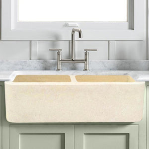 "36"" Hadar Smooth Polished Egyptian Cream Marble Double-Bowl Farmhouse Sink"