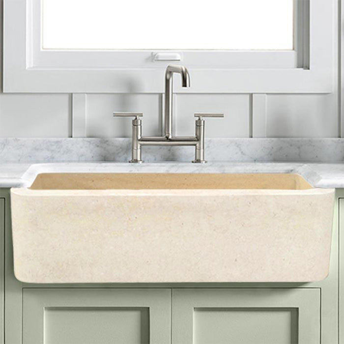 "36"" Hadar Smooth Polished Egyptian Cream Marble Single-Bowl Farmhouse Sink"