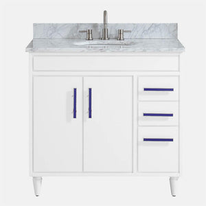 "36"" Leadore Vanity Cabinet for Oval Undermount Sink - White"