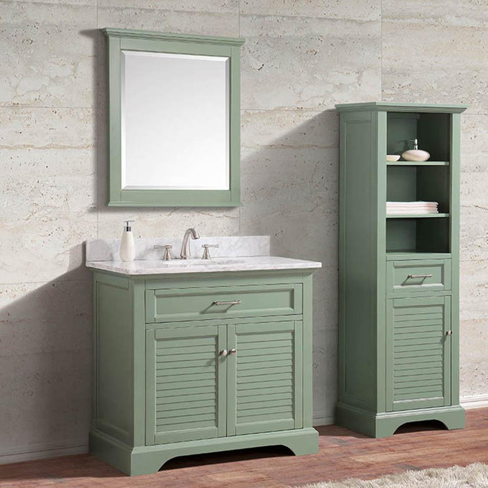 "36"" Lostine Vanity Cabinet for Oval Undermount Sink - Basil Green"