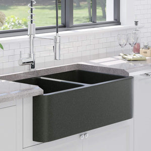 "36"" Mableton Smooth Polished Black Granite Double-Bowl Farmhouse Sink"