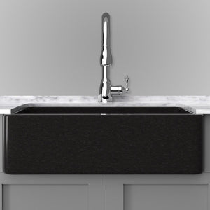 "36"" Mableton Smooth Polished Black Granite Single-Bowl Farmhouse Sink"
