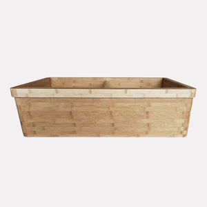"36"" Marbury Bamboo Smooth Apron Double-Bowl Farmhouse Sink with Top Lip"