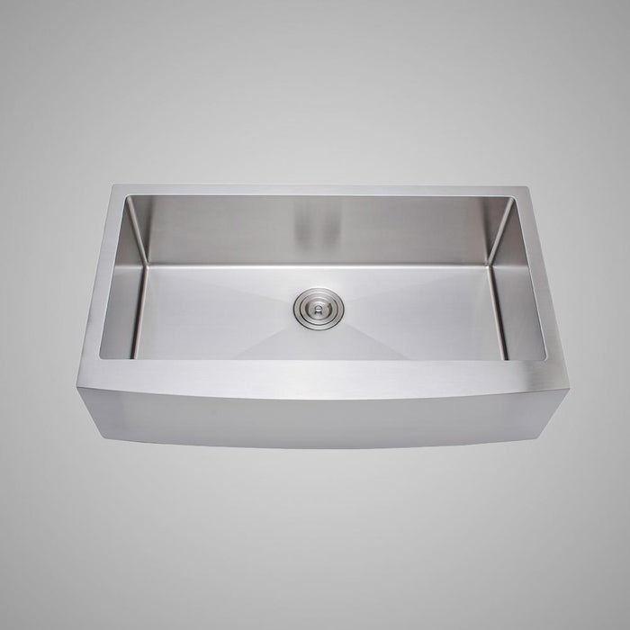 "36"" Shoreham Stainless Steel Single-Bowl Farmhouse Sink - Arched Apron"