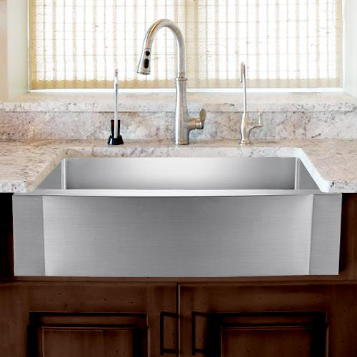 "36"" Vaiden Stainless Steel Single-Bowl Farmhouse Sink - Rippled Apron"