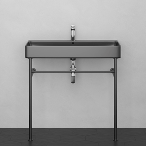 "36"" Valmora Black Vitreous China Console Bathroom Sink with Black Powdercoat Steel Stand"