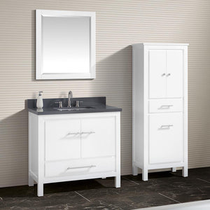 "37"" Chelan Vanity with Gray Quartz Top and Rectangular Undermount Sink - White"