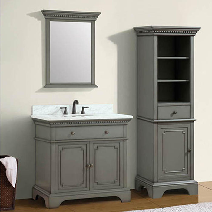 "37"" Kamela Vanity Cabinet with Carrara Marble Top and Oval Undermount Sink"