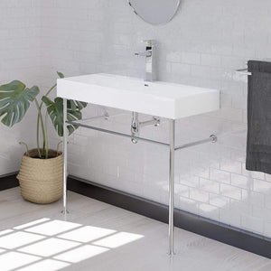"39"" Beckley Vitreous China Console Bathroom Sink with Steel Stand"